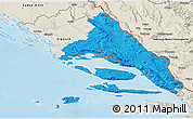 Political 3D Map of Split-Dalmatija, shaded relief outside