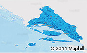 Political 3D Map of Split-Dalmatija, single color outside