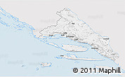 Silver Style 3D Map of Split-Dalmatija, single color outside