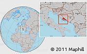 Gray Location Map of Split-Dalmatija