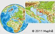 Physical Location Map of Split-Dalmatija