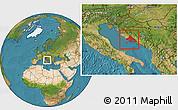Satellite Location Map of Split-Dalmatija
