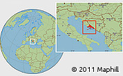 Savanna Style Location Map of Split-Dalmatija
