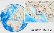 Shaded Relief Location Map of Split-Dalmatija