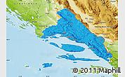Political Map of Split-Dalmatija, physical outside