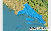 Political Map of Split-Dalmatija, satellite outside