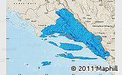 Political Map of Split-Dalmatija, shaded relief outside