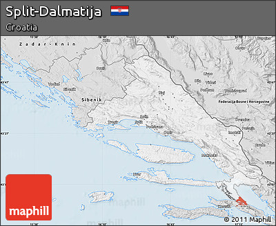 Silver Style Map of Split-Dalmatija