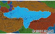 Political 3D Map of Varazdin, darken