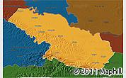 Political 3D Map of Virovitica-Podravina, darken