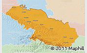 Political 3D Map of Virovitica-Podravina, lighten