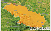 Political 3D Map of Virovitica-Podravina, satellite outside