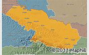 Political 3D Map of Virovitica-Podravina, semi-desaturated
