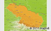 Political Map of Virovitica-Podravina, physical outside