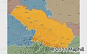 Political Map of Virovitica-Podravina, semi-desaturated