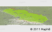 Physical Panoramic Map of Virovitica-Podravina, semi-desaturated