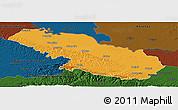 Political Panoramic Map of Virovitica-Podravina, darken