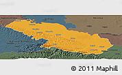 Political Panoramic Map of Virovitica-Podravina, darken, semi-desaturated
