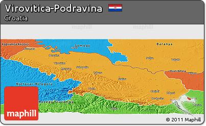 Political Panoramic Map of Virovitica-Podravina