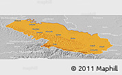 Political Panoramic Map of Virovitica-Podravina, lighten, desaturated