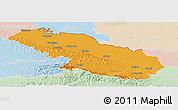 Political Panoramic Map of Virovitica-Podravina, lighten