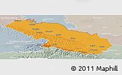 Political Panoramic Map of Virovitica-Podravina, lighten, semi-desaturated