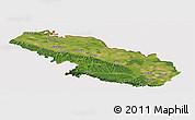 Satellite Panoramic Map of Virovitica-Podravina, cropped outside