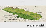 Satellite Panoramic Map of Virovitica-Podravina, shaded relief outside