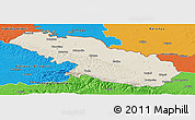 Shaded Relief Panoramic Map of Virovitica-Podravina, political outside