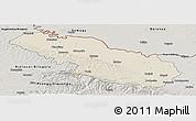 Shaded Relief Panoramic Map of Virovitica-Podravina, semi-desaturated