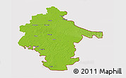 Physical 3D Map of Vukovar-Srijem, cropped outside