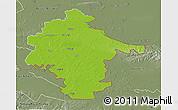 Physical 3D Map of Vukovar-Srijem, semi-desaturated