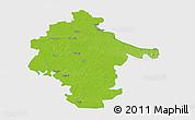 Physical 3D Map of Vukovar-Srijem, single color outside