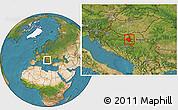 Satellite Location Map of Vukovar-Srijem