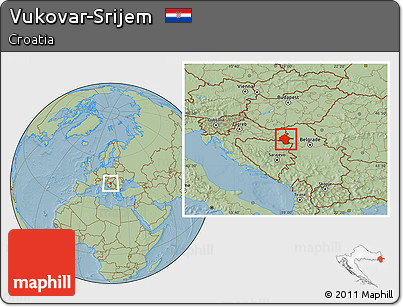 Savanna Style Location Map of Vukovar-Srijem, hill shading