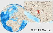 Shaded Relief Location Map of Vukovar-Srijem