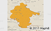Political Map of Vukovar-Srijem, shaded relief outside