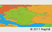 Physical Panoramic Map of Vukovar-Srijem, political outside