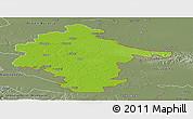 Physical Panoramic Map of Vukovar-Srijem, semi-desaturated