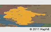 Political Panoramic Map of Vukovar-Srijem, darken, semi-desaturated
