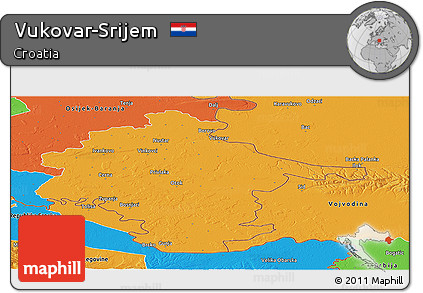 Political Panoramic Map of Vukovar-Srijem