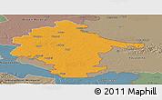 Political Panoramic Map of Vukovar-Srijem, semi-desaturated