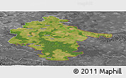 Satellite Panoramic Map of Vukovar-Srijem, desaturated
