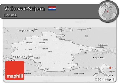Silver Style Panoramic Map of Vukovar-Srijem