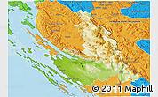 Physical 3D Map of Zadar-Knin, political outside