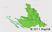 Political 3D Map of Zadar-Knin, cropped outside