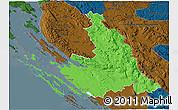 Political 3D Map of Zadar-Knin, darken