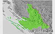 Political 3D Map of Zadar-Knin, desaturated