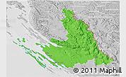 Political 3D Map of Zadar-Knin, lighten, desaturated