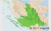 Political 3D Map of Zadar-Knin, lighten